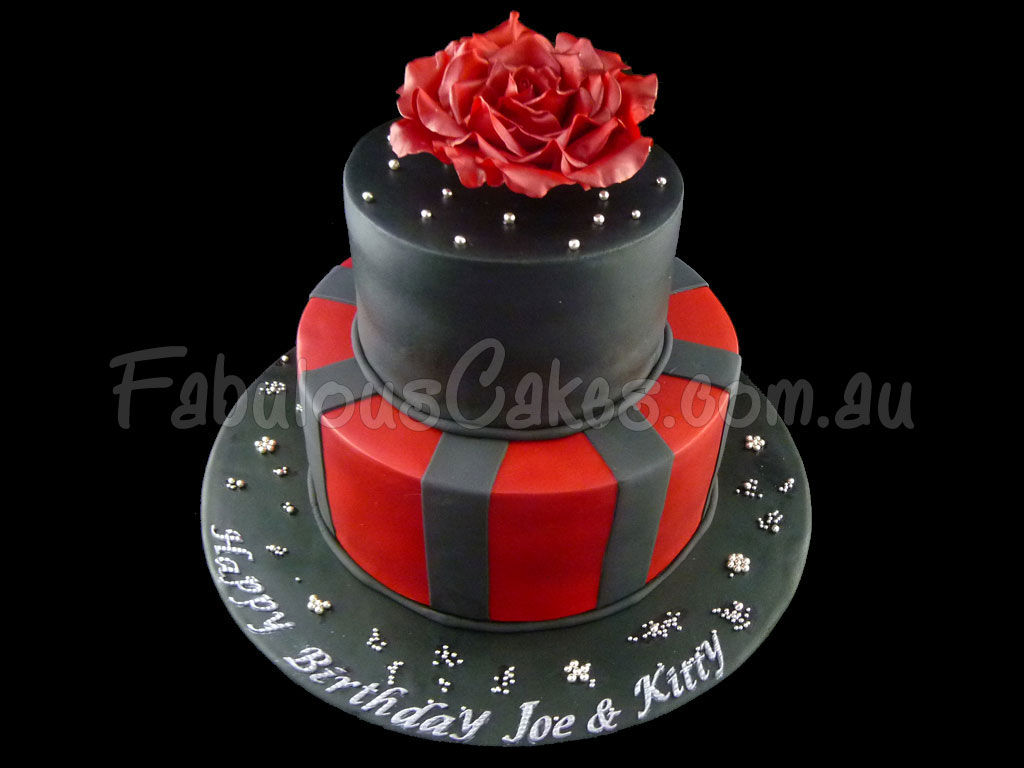 Red Colour Cake Images : Black and Red Birthday Cake Fabulous Cakes